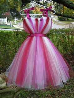 Full dress made from tulle with a satin ribbon waistband, all hand made