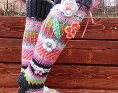 Über die Kniestrümpfe Thigh High Socks stricken Hand von SilverSoni Thigh High Socks, Thigh Highs, Fingerless Gloves, Arm Warmers, Thighs, Etsy, Vintage, Accessories, Clothes