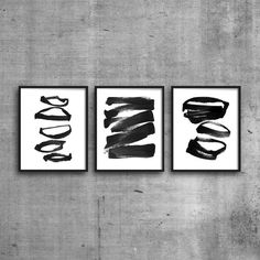 Set Of 3 Prints Abstract Art Triptych Printable by MinimalInstant