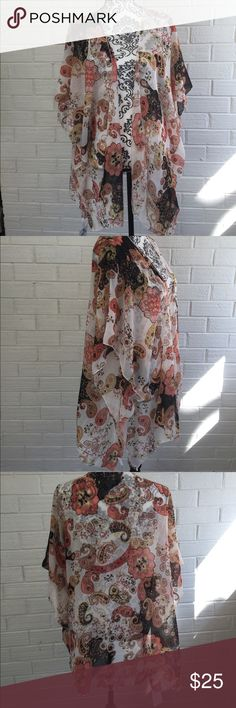 My Amelia James Kimono Peach & Black Paisley Really pretty sheer peach black and white kimono. One size fits most. Goes all the way to my knees when I tried it on. Great for summer. Brand new never warn with tags. Smoke free environment.  100% polyester My Amelia James Other