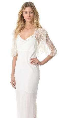Jenny Packham Elsa Capelet - add this lovely piece to your wedding gown in the evening or as an option for your photos.