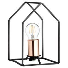 Tafellamp met stoer metalen frame en koperkleurige fitting. Grote fitting E27. #tafellamp #kwantumstijl
