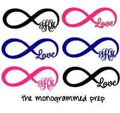 Infinity Monogram Car Decal by TheMonogrammedPrep on Etsy, $3.00