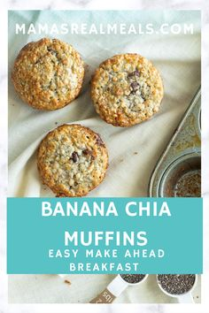 A easy snack you can make for your kids with this simple one bowl banana chia muffins. Made much healthier with oatmeal greek yogurt and chia seeds. Homemade Cake Recipes, Donut Recipes, Coffee Recipes, Cooking Recipes, Drink Recipes, Sweets Recipes, Muffin Recipes, Cooking Tips, Easy Recipes