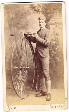 EARLY BICYCLE CDV PHOTO GENT & PENNY FARTHING REID STUDIO WISHAW ANTIQUE C.1880  picclick.com
