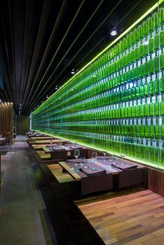 Spanish restaurant, El Mercao by Vaillo + Irigaray, 10 green bottles ...