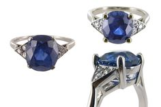 Sapphire and Diamond, the worn out setting was remade and the stones reset.