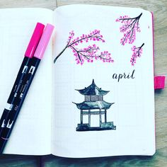 Bullet journal monthly cover page, April cover page, cherry blossoms drawing. | @bulletjournal_sascha