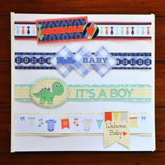 Delightfully cute baby scrapbook page borders you can make up ahead of time before baby arrives. They'll make page creation quick & easy. And so cute!
