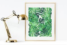 Palm print, printable banana and Monstera leaf print, watercolor palm leaves print, tropical print wall art, green palm leaves print