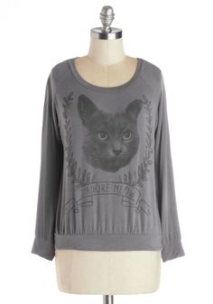 Chats and Dogs Top. Even if you're picking up your pup from doggy daycare, this cute cat top lets you show your love of all animals! #grey #modcloth
