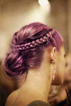 Elegant purple pastel braided bun hair
