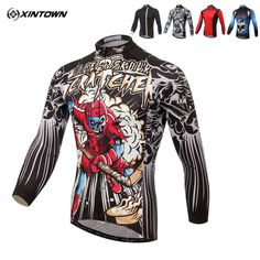 XINTOWN Sportswear Men's 100% Polyester Long Sleeve Outdoor Cycling Jersey Spring Summer Autumn Style Bike Breathable Clothes  #Affiliate