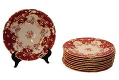 English Dessert Plates, S/10 on OneKingsLane.com $5,500 to $3,500  English ruby and clear reticulated dessert plates, decorated with sprigs of flowers and fruit. Minton Factory, circa 1890. Marked: Spaulding and Co./Manufactured for Chicago/Made in England.