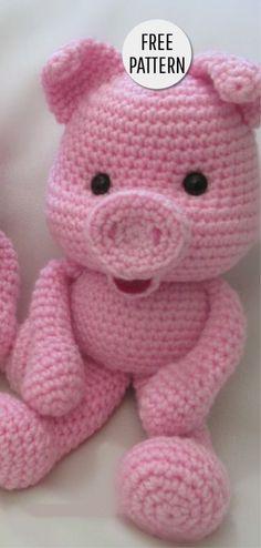 Amigurumi Sweet Pig Free-Muster - Amigurumi X Crochet Pig, Crochet Doll Pattern, Cute Crochet, Crochet For Kids, Crochet Dolls, Crochet Patterns, Knitting Patterns, Easy Crochet Projects, Crochet Crafts