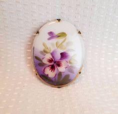 Vintage hand painted porcelain brooch purple flower floral C clasp Victorian pos | eBay