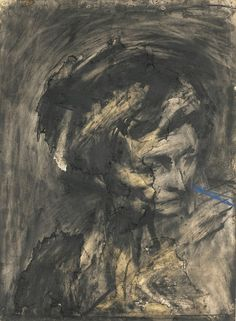 Frank Auerbach (British, b. 1931), Head of Gerda Boehm, 1961. Charcoal on paper, 77.5 x 56 cm.via alongtimealone