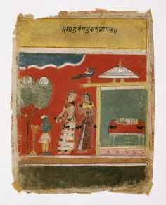Yashoda Ties Krishna to a Mortar. Page from a dated Rasikapriya Series, Opaque watercolor and gold on paper, Malwa, India, Brooklyn Museum India Painting, Indian Art, Krishna, Brooklyn, Ties, Objects, Miniature Paintings, Miniatures, Museum