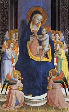 Fra Angelico, 1400-1455.  Roman catholic monk (fra short for fratello, means brother in italian).  highly spiritual artist.  wanted message to be easily read by viewer.  Early renaissance saw artists like fra Angelico and Ghiberti that held onto gothic style of art.  Which techniques in this painting do you see that are very gothic?