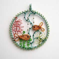 In The Shallows wire and bead underwater coral reef scene pendant