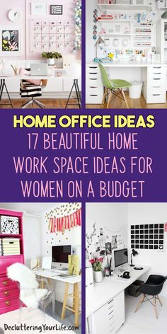 Home Office Ideas for Women on a Budget Who Want an Organized Feminine Workspace At Home Work Desk Decor, Office Organization At Work, Office Ideas, Office Decor, Getting Organized At Home, Feminine Home Offices, Messy House, Study Areas, Home Office Space