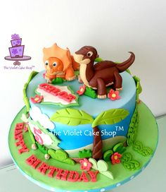 LAND BEFORE TIME Dino Cake - by The Violet Cake Shop on CakesDecor - https://www.facebook.com/pages/The-Violet-Cake-Shop/95259702360 - http://cakesdecor.com/cakes/139728-land-before-time-dino-cake