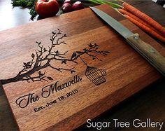 Personalized Cutting Board Wedding Established Sign - Custom Engraved Butcher Block Wedding Gift Cutting Board Shown in Mahogany