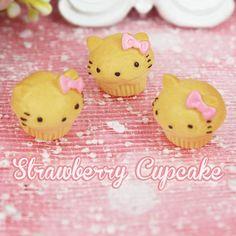 6 x Hello Kitty Bread Style Cupcake Kawaii Fake Sweets Food Cabochon Deco Cabochons