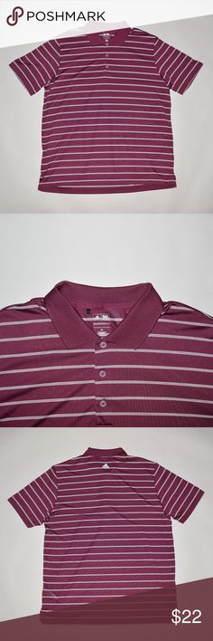 Adidas Puremotion Striped Men's Golf Polo Shirt Brand: Adidas Item name: Men's Puremotion Golf Polo Shirt   Color: Burgundy Condition: This is a pre-owned item. It is in excellent condition with no stains, rips, holes, etc. Comes from a smoke free household. Size: XL Measurements laying flat: Pit to pit - 25 inches Shoulder to base - 32 inches Adidas Shirts Polos