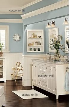 I LOVE the cornice idea above the mirror...humm  Bathroom color: BM Wedgewood Gray (Pottery Barn)