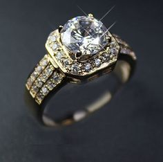 Womens Wedding Engagement Ring 18k GP Cluster 2 by TRENDZYJewelry