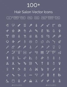 100+ Hair Salon Vector Icons — Photoshop PSD #hair salon tools #barber shop • Available here → https://graphicriver.net/item/100-hair-salon-vector-icons/11400557?ref=pxcr