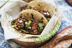 "Barbacoa Tacos and Bonus Chili, ""A smoked and slow roasted barbacoa recipe, Americanized only by the use of a smoker and a readily available chuck roast cut. A bonus chili recipe from the roasting sauce is included."""
