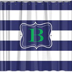 rugby striped shower curtain  B's bath