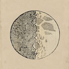Astronomy Print Drawing of the Moon by Galileo Galilei  Recovered Vintage Image A3 to Frame. $22.00, via Etsy.
