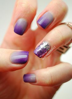 Purple nail art design with sequins. If you want to go simple but have an extra wow to your nails then adding a bit of gradient and sequins will definitely make it stand out from the regular nail art designs.