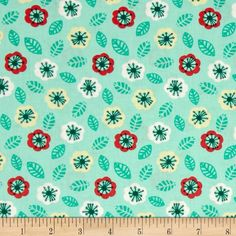 Jungly Floral Aqua from @fabricdotcom  Designed by Andrea Turk of Cinnamon Joe Studio for Camelot Fabrics, this cotton print fabric is perfect for quilting, apparel and home decor accents. Colors include aqua, mint, yellow, white, red and green.