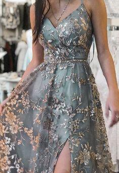 Apr 2020 - Stylish tulle sequins long prom dress formal dress – Loveydress Pretty Prom Dresses, Hoco Dresses, Ball Dresses, Elegant Dresses, Ball Gowns, Dress Prom, Formal Prom Dresses, Dress Long, Stylish Dresses