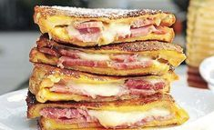 September 17 is Monte Cristo Sandwich day! Leave it to Americans to turn a traditionally savory sandwich (the croque-monsieur from France) into the same thing, deep fried, and made more sweet 😂 . Recipe and pic from ! Monte Cristo Recipe, Best Sandwich, Sandwich Recipes, Appetizer Recipes, Leftover Ham Recipes, Food Porn, Brunch, Wrap Sandwiches, Mexican Food Recipes