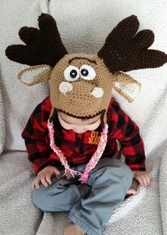 Moose crochet hat by KissedbytheMoonB on Etsy