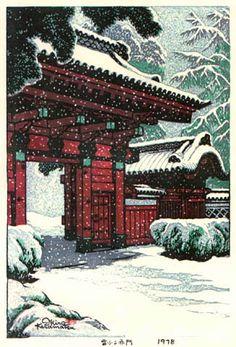 """Red Gate in the Snow"" by Shiro Kasamatsu, 1978"