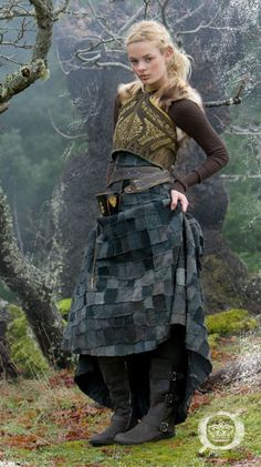 Patchwork skirt and armor-like shirt