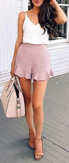 #Summer #Outfits / Crop Top + Nude Hot Pants