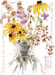 Autumn Wildflower Celebration ~ artist Pam Brickell; I love her work.  Brown Micron pen & watercolor.  #art   #journal