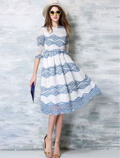 1950s Inspired Striped Lace Retro Swing Dress