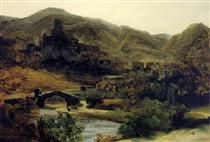 A View of Thiers in the Auvergne - Theodore Rousseau