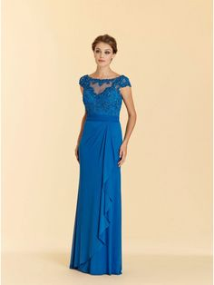 Long Blue 3/4 Length Illusion Neckline Sleeves Lace Chiffon Mother of The Bride Dresses 99803052