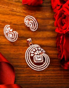 Buy Designer Rose Gold Finish American Diamond Pendant Set For Women Online Pendant Set, Diamond Pendant, Diamond Earrings, Rakhi Gifts For Sister, Diamond Nose Stud, Wedding Gifts For Friends, Ankle Jewelry, Jewellery Sketches, Jewelry Party