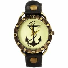 ZLYC Women Men's Leather Vintage Anchor Dial Wrist Watch Brown - Jewelry For Her