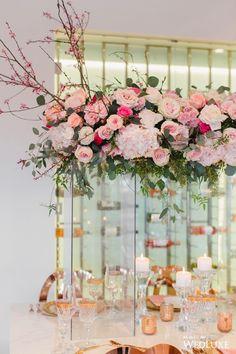 These #centrepieces though <3 Photography by: Simply Sweet Photography | WedLuxe Magazine | #WedLuxe #Wedding #luxury #weddinginspiration #luxurywedding #pink #pinkwedding #tabledecor #weddingreception